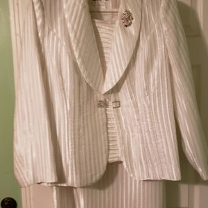 Dressy 3 Piece White Skirt Suit